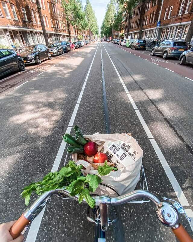 healthy foods and bike